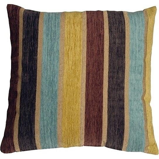 Buy Pillow Decor - Savannah Stripes 20x20 Yellow Blue Chenille Throw Pillow by Pillow Decor on ...