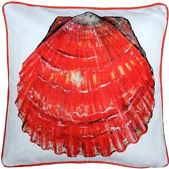 Pillow Decor - Big Island Bay Scallop Solitaire Throw Pillow 20x20