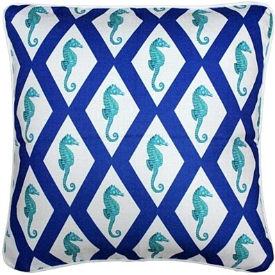 Tracy Effinger - Capri Blue Argyle Seahorse Throw Pillow 20x20