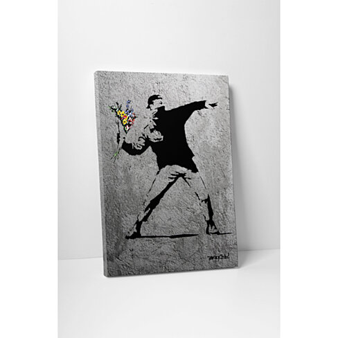 Banksy Flower Thrower Full Size Gallery Wrapped Canvas Print. BONUS WALL DECAL!