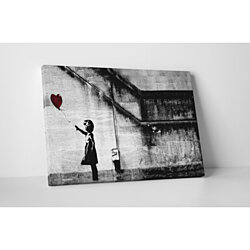 Banksy Girl With Balloons Gallery Wrapped Canvas Wall Art. BONUS WALL DECAL!