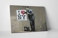 Banksy I Love NY Gallery Wrapped Canvas Wall Art. BONUS WALL DECAL!