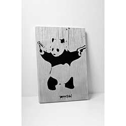 Banksy Panda Gallery Wrapped Canvas Wall Art. BONUS WALL DECAL!