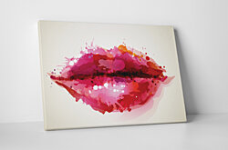 Paint Drop Lips Gallery Wrapped Canvas Wall Art