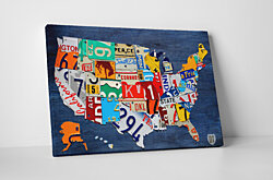 USA License Plate Map Gallery Wrapped Canvas Art