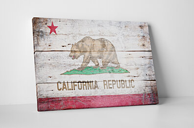 Vintage California Flag Gallery Wrapped Canvas Art