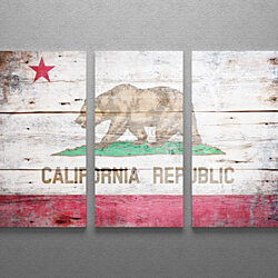 Vintage California Republic Flag Gallery Wrapped Canvas Triptych Wall Art