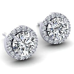 Swarovski Pave Halo White Gold Earrings - FREE SHIPPING