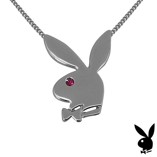 Buy playboy necklace bunny pendant pink swarovski crystal platinum playboy necklace bunny pendant pink swarovski crystal platinum plated licensed aloadofball Images