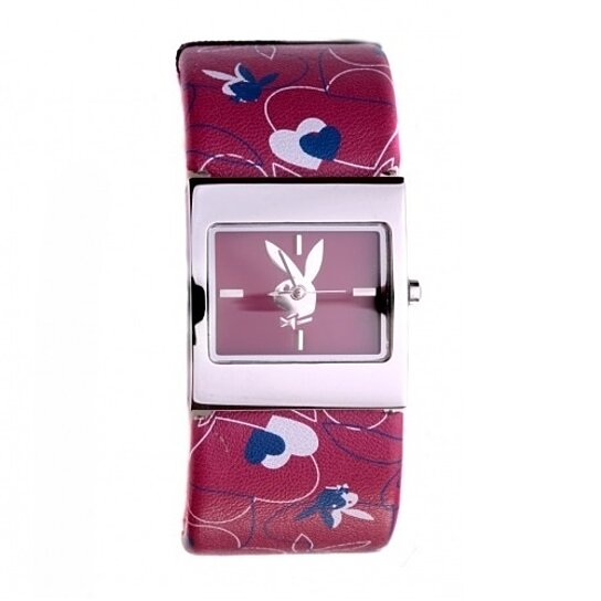 Buy Playboy Watch Bunny Hearts Cuff Bracelet Band Stainless Steel Back Licensed By Playboy