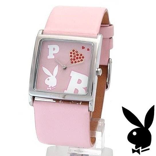 Buy Playboy Watch Bunny Red Swarovski Crystal Heart Pink Leather Band Stainless Steel Back By