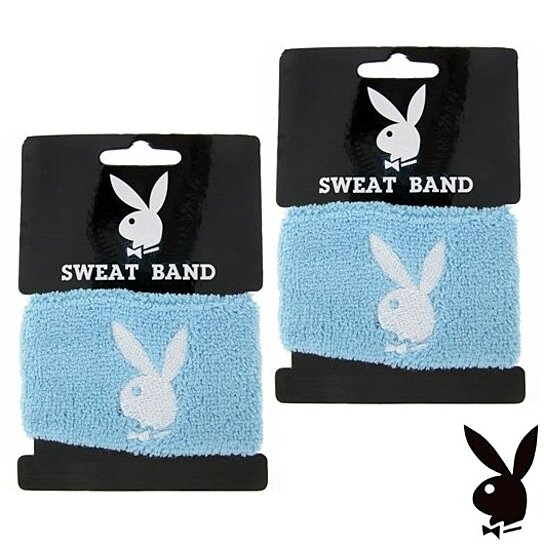 Buy Playboy Wristbands White Bunny Logo Blue Terrycloth Wrist Sweat Bands Sweatbands Set Of 2 By