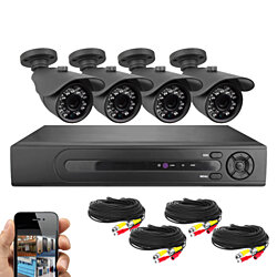 Best Vision Systems SK-DVR-DIY 8-Channel D1 DVR Security System 4 800TVL Night Vision Outdoor Bullet Cameras, 500 GB Hard Drive