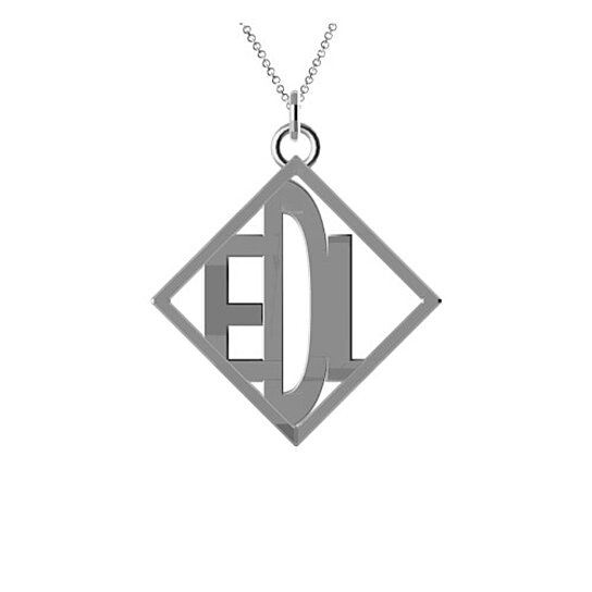 3 letter monogram with the initials edl in sterling silver