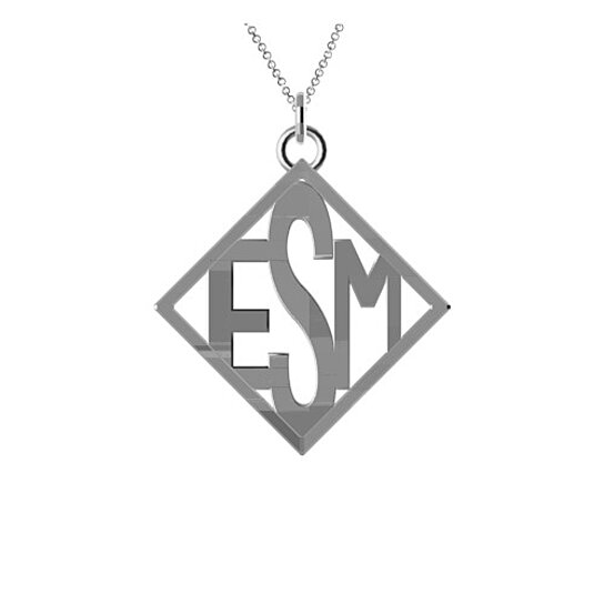 3 letter monogram with the initials esm in sterling silver