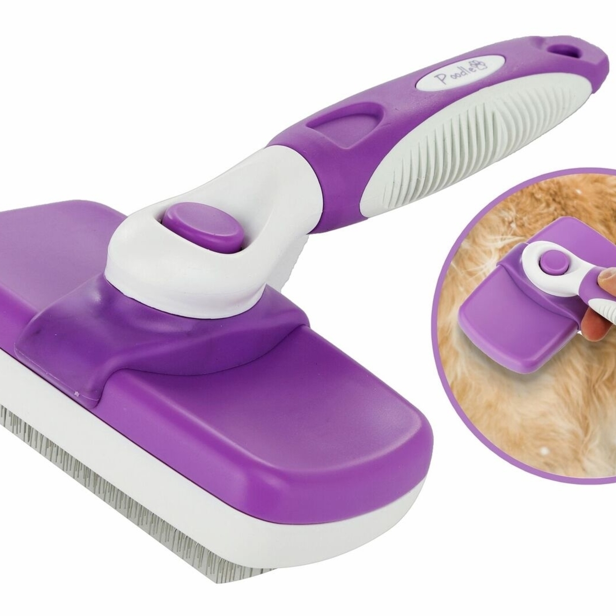 Poodle Pet Self Cleaning Slicker Brush for Dogs, Etc. Retractable, Easy Clean, Ergonomic Stainless Steel Metal Bristle Slicking Comb 59823d9df486b7330e372541