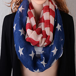 Pop Fashion American Flag Infinity Scarf - USA Scarves - Red White and Blue Stars and Stripes