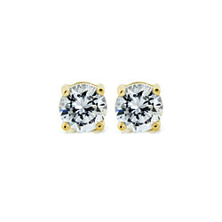 Diamond-Simulated 1Ct. 14k & Sterling Silver Stud Earrings