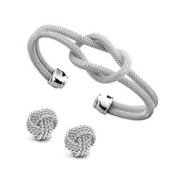 Love Knot Stud Earrings & Knot Bangle Cuff Bracelets Jewelry Set
