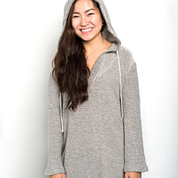 Contemporary women's V neck knitted hoodie
