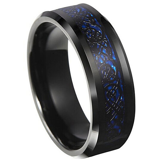 Buy 8mm Tungsten Carbide Celtic Dragon Black and Blue Inlay Flat fort Fit