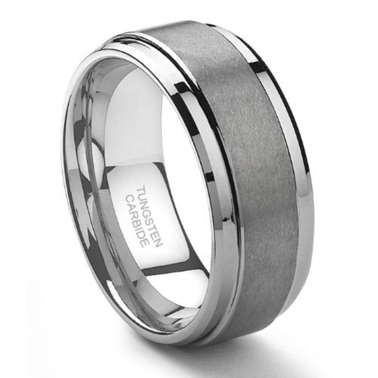 8mm Tungsten Carbide Men 39 S Wedding Band Ring In Comfort Fit And Matte Fin