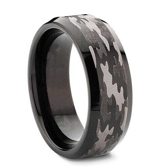 Tungsten Ring Mens Black 8mm Bevel Edge Carbide Hunting Camouflage Wedding Band Camo Engagement By Charming Jewelry On