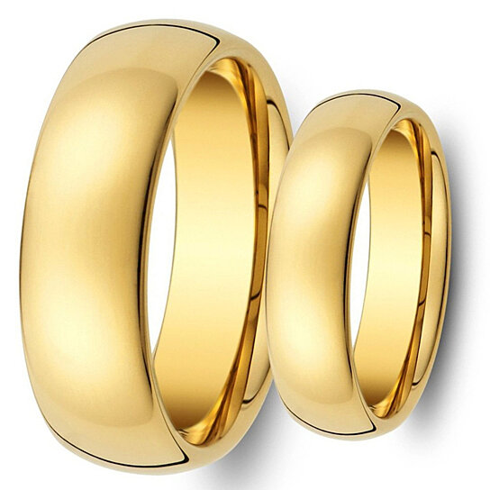 Set Matching,8MM/6MM Tungsten Carbide Shiny Gold Wedding Band Ring Set