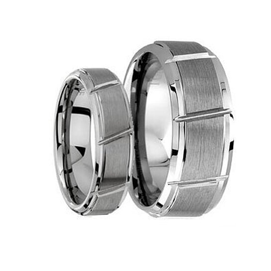 Buy Tungsten Wedding BandWedding Band Set MatchingBrushed Center With Grooved Cut Tungsten