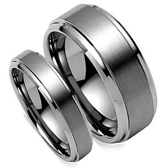 Buy tungsten wedding bandwedding band set matchinghis for Tungsten carbide wedding ring sets