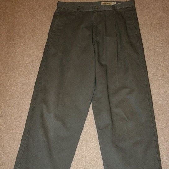 Buy EDDIE BAUER Mens Classic Fit Pants Olive Green 34 x 36 Pleated ...