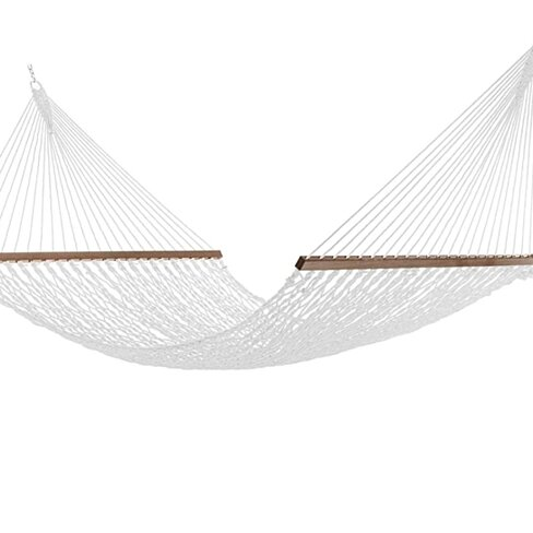 12FT Rope Hammock, Quick Dry with Double Size Solid Wood Spreader Bar, 2 Person 450 Pound Capacity