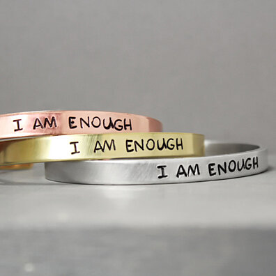"""I Am Enough"" Hand Stamped Cuff Bracelet"