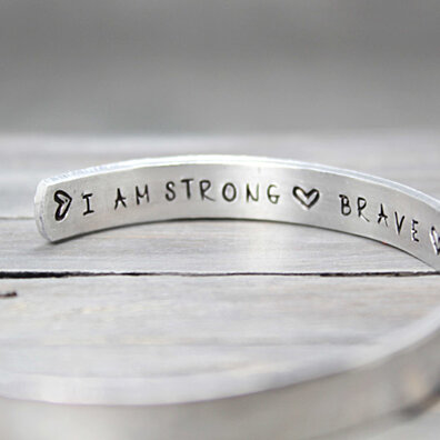 Hammered Inspiration I Am Cuff, Handstamped Jewelry