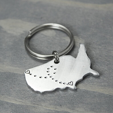 Personalized Handmade Long Distance Key Chain