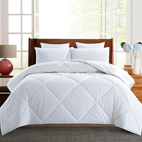 Down Alternative Comforter White, Duvet Insert, 450 TC, 100% Cotton Cover