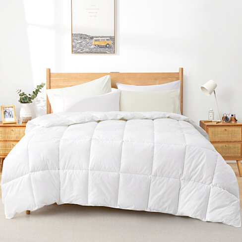 Lightweight Down Comforter Duvet Insert, 100% Cotton, 600 Fill Power, White