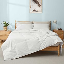 Lightweight White Goose Down and UltraFeather Comforter with 100% Cotton Cover