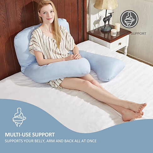 Maternity/Pregnancy Contoured Body Pillow, U Shaped, Zippered Cover