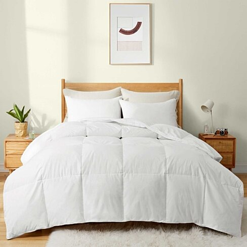 White Goose Down Fiber Gusseted Comforter for Winter, 100% Cotton Cover, Heavy Weight