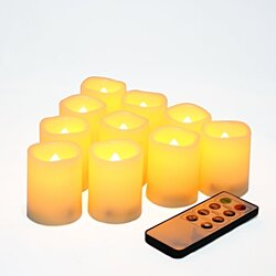 Candle Choice Set of 10 Flameless Votive Candles with Remote and Timer (P38R10405V-10 Ivory)