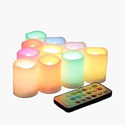 Candle Choice Set of 10 Multi-Color Flameless LED Votive Candles with Remote and Timer (P38C10405V-1