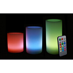 "Remote Controlled Multi Color Changing Wax Pillar Candles - Set of 3 3"" 4"" & 5"""