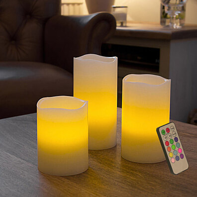 LED Flameless Light Candles w/ Remote and Timer, 3 Piece Set