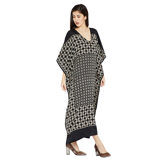 d477cceb6a4 Trending product! This item has been added to cart 99 times in the last 24  hours. Black Geometric Printed Design Plus Size Kaftan Dress for Women ...