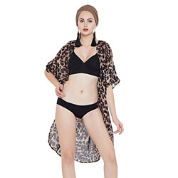 Black Summer Beach Cover-ups for Women Swimsuit Leopard Print Bikini Cover-Ups