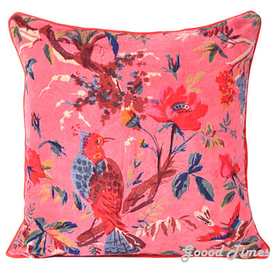 Floral Birds Pattern Velvet Pink Throw Pillow Case Cushion Cover Home Sofa Decorative 16 X 16 Inch