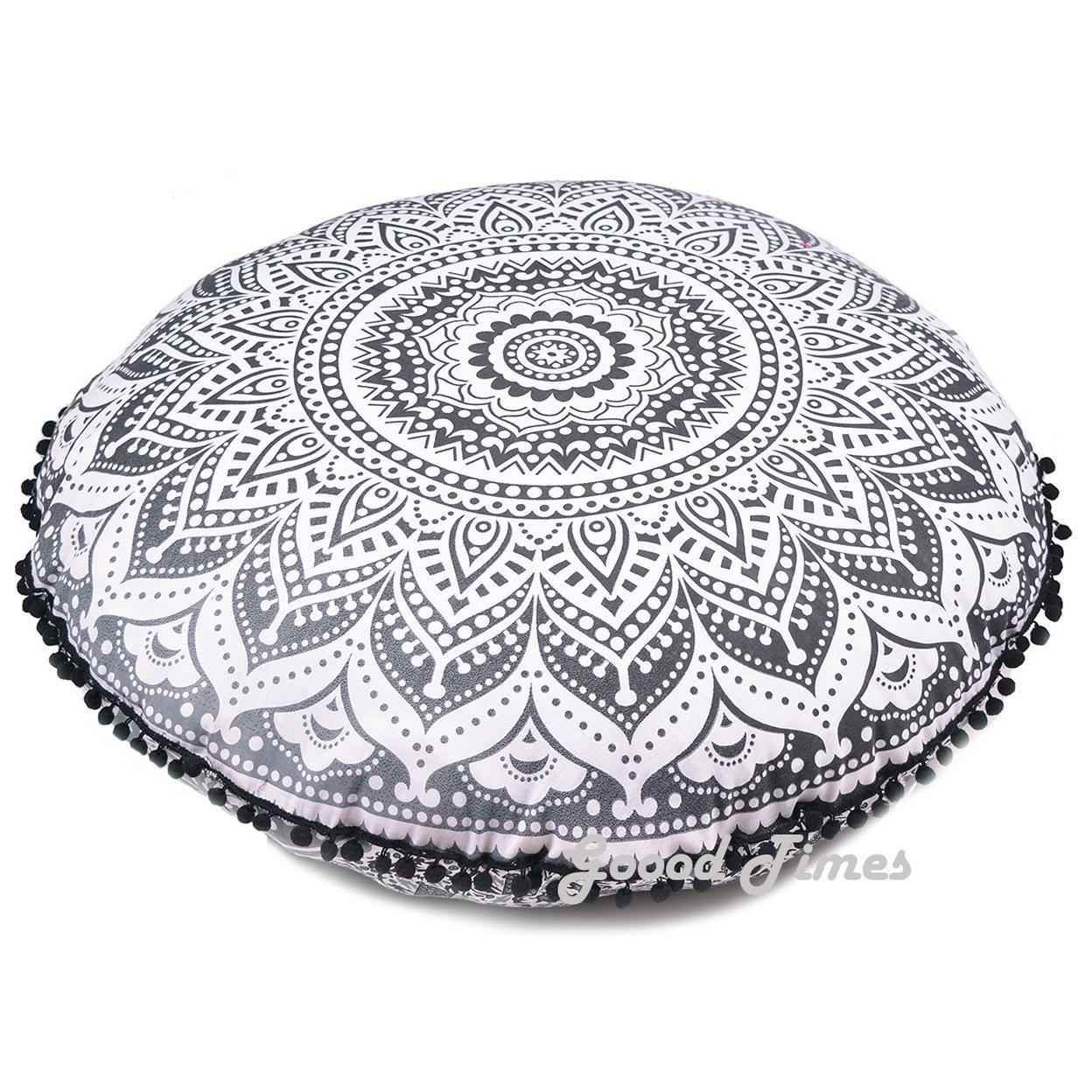 "Goood Times Black Ombre Throw Decorative Floor Pillow Cushion Cover Mandala – 32"""