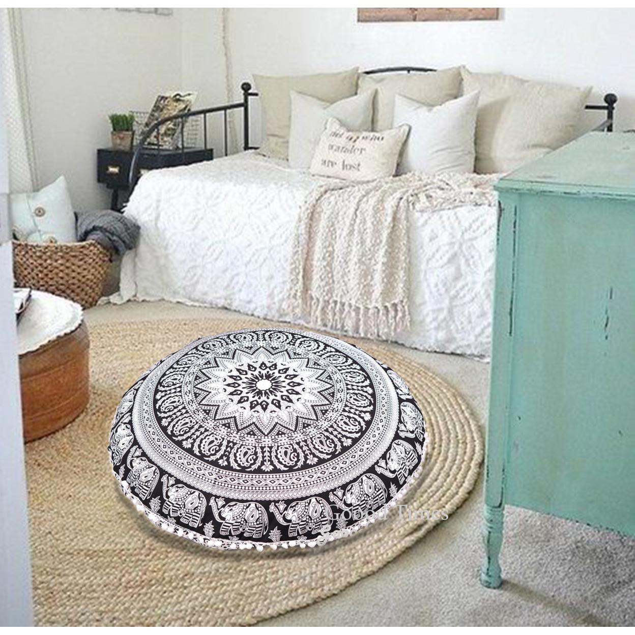 "Black & White Throw Decorative Floor Pillow Cushion Cover Mandala – 32"""
