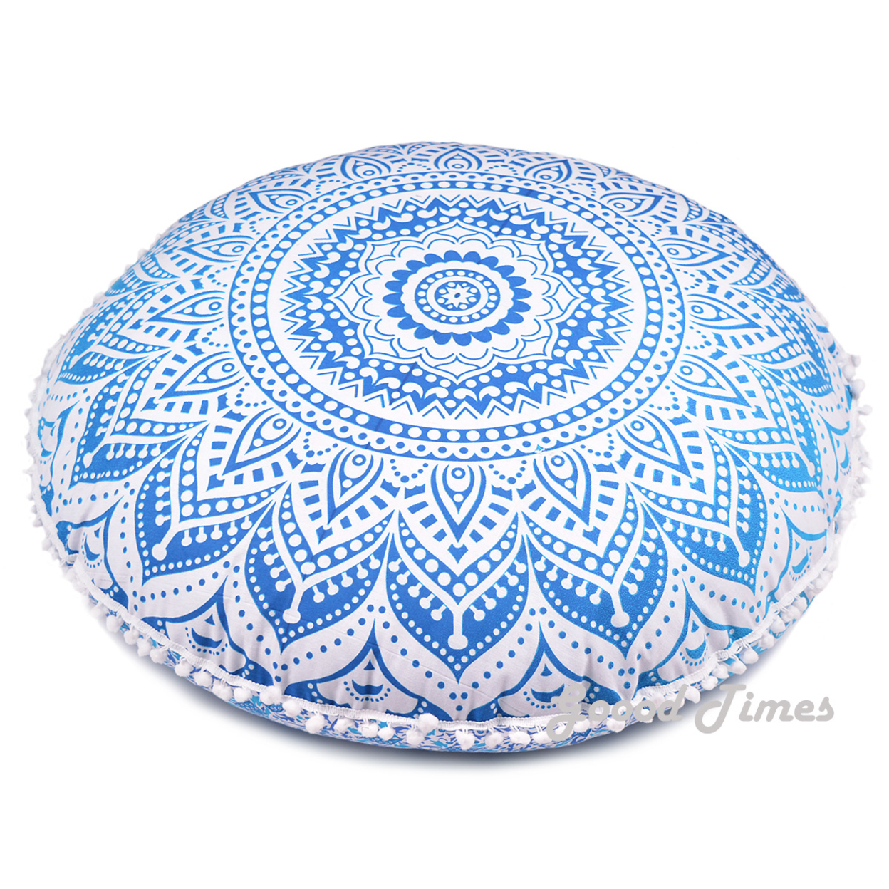 "Goood Times Blue Ombre Throw Decorative Floor Pillow Cushion Cover Mandala – 32"""